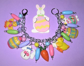 Easter Bracelet, Easter Charm Bracelet, Easter Jewelry, Bunny, Eggs, Chicks, Carrot, Charms, Beads, Chunky, Pastel Colors, OOAK, Handmade