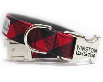 Engraved Buffalo Plaid Dog Collar, Red and Black Check, Buffalo Check, Personalized Buffalo Plaid Collar