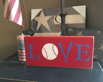 Love Ball Baseball Handpainted Wood Sign Plaque Baseball Decor Bat Sports