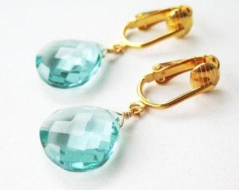 Pale Aqua Faceted Drop Clip On Earrings, Light Blue Teardrop Dangle Stones, Watery Blue Earrings for Non Pierced Ears, Morris Modern Gold