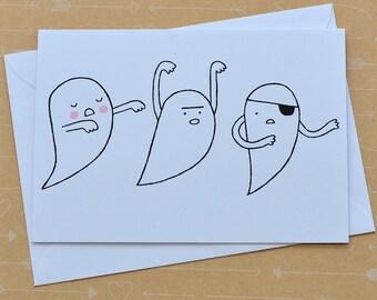 Three Ghosts - Screenprinted Card