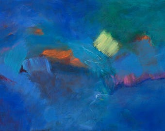 Against the Current - Original Signed Abstract Painting, Acrylics on Canvas, 24 x 36 inches by 1-1/2 inch deep