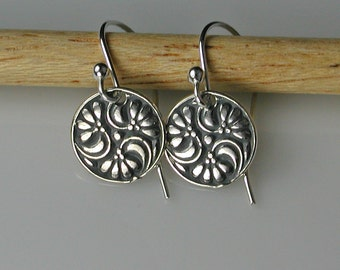 Floral Disc Earrings Sterling Silver Antique Replica