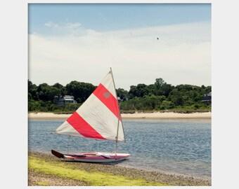 Sunfish Photo, Sailboat Photo, Square Boat Photo, Sunfish Sailboat Art, Sailing in Falmouth, Cape Cod Sailboat Print, Red Sailboat on Beach