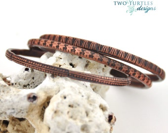 Two Turtles Designs Set of 3 Copper Bangles