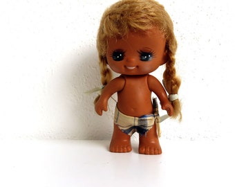 Vintage 1970s Rubber Doll Toy - Made in Hong Kong - Big Eyed Girl Braids - Cute Sassy Emotion Doll
