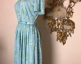 1950s dress shirtwaist dress casual maker dress aqua dress size medium vintage dress house wife dress