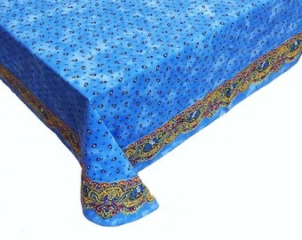 """Blue French Tablecloth, Provence Tablecloth, Blue Floral Tablecloth, 60"""" x 108"""""""