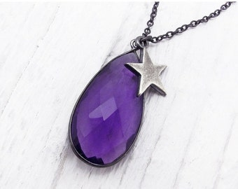 amethyst necklace, amethyst pendant necklace, February birthstone necklace, gift for her, purple briolette necklace, amethyst star jewelry