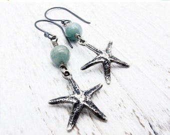 starfish earrings, aquamarine earrings, beach wedding earrings, March birthstone gift, nautical earrings, mermaid jewelry, gift for her