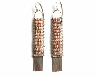 SALE   Blush Rhodochrosite Ladder Earrings