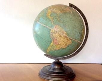 Reserved 1945 Replogle Globe, 12 inch, Metal Stand. Vintage Shabby Globe, Terrestrial. Mid Century World Globe.