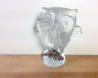 Kosta Boda Sweden Glass Owl Paperweight, 5 inch. Zoo Glass. 1970s Mod Owl Figurine. Scandinavian Modern Art Glass.