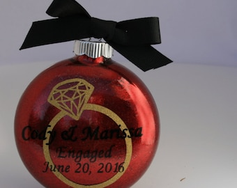 Personalized Engagement Gift,  Personalized Christmas Ornament / 2017 Engagement Ornament / Personalized Ornament / 2017 Engaged Ornament