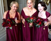 RESERVED for Elle A. MARSALA Infinity Convertible Bridesmaid Dresses Made to order in all wedding colors to precise sizes  Made in the USA
