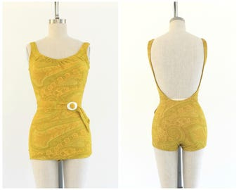 vintage 1960s yellow and green paisley print one-piece swimsuit | 60s skirted bathing suit | vtg bathing suit swimwear | small