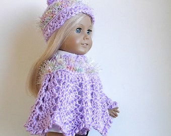 """18"""" Doll Clothes Crocheted Poncho Set in Lavender with Pastel Eyelash Trim handmade to fit American Girl and other 18"""" Dolls"""