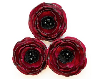 Red and black wedding flowers - handmade fabric flowers, sew on flower appliques, flower decor, satin flowers, fabric flowers, anemones