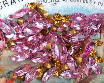 Vintage Navette Rhinestones Loose Pink