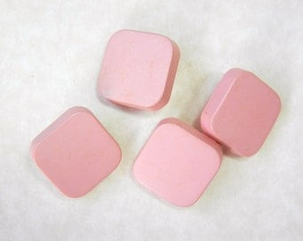 Vintage Buttons-Set of Four Square 1950's Pink Plastic Buttons-VPK1