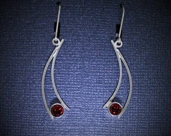 GemDrops Earrings, Natural Garnet Dangle Earrings, Eco-Friendly Silver Earrings