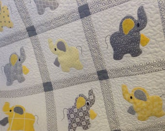 Elephant Treasures handmade quilt in yellow and grays