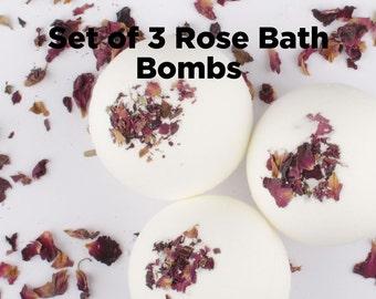 Rose Bath Bomb Gift Set - Bath Bomb Set - Bath Gift Set - Set of 3 Bath Bomb - Gift for Her - Gift For Mom - Mothers Day Gift