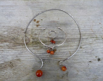 Vintage 60s/70s  French  modernist sterling & carnelian necklace matching bracelet and ring
