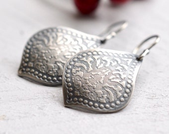 Silver Lotus Leaf Earrings, Textured Lotus Earrings, Oxidized Silver Earrings, Fabricated Metal, Etched Silver Earrings