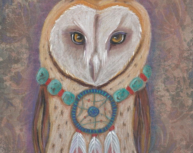 Owl Original Mixed Media on patterned paper