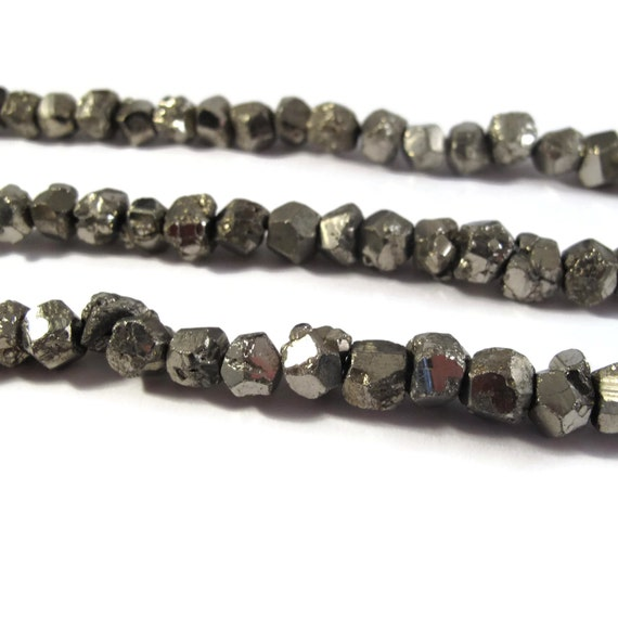 Pyrite Nugget Beads, 8 Inch Strand, 7mm-9mm Natural Gemstones for Making Jewelry, About 25 Rough Natural Pyrite Beads (S-Py7a)