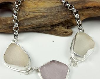 Sea Glass Jewelry Sea Glass Bracelet Lavender Sea Glass Purple Sea Glass Jewelry Beach Glass Bracelet Size 8 - B-239