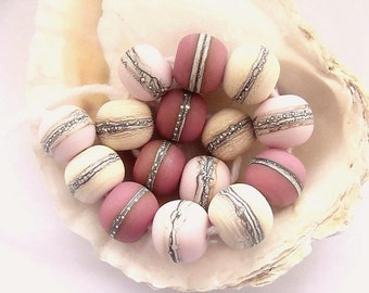 15 Etched Handmade Lampwork Beads