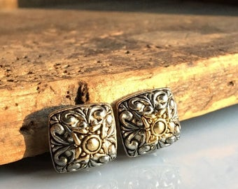 MARCH MADNESS SALE Vintage Clip On Earrings, Filigree Earrings, Square Earrings, Small Earrings, Etsy, Etsy Jewelry