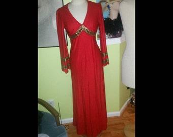Elegant Vintage Egyptian Inspired Red Maxi Dress
