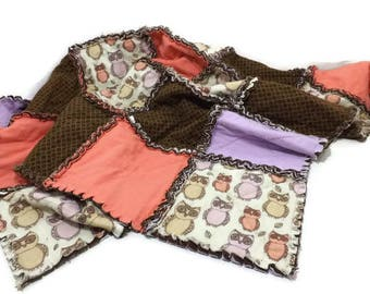 Pastel Owls Rag Quilt / Crib Blanket / Brown / Coral / Lavender