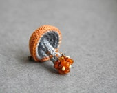 Mushroom crochet pin - whimsical brooch - woodland jewelry