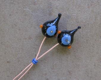 Lampwork Headpins - Glass Headpins - Black and Sky Blue Glass Headpins - Copper wire - Glass Headpins Pair - SueBeads - Headpins