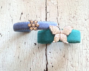 Adjustable Cuffs with Vintage Rhinestones