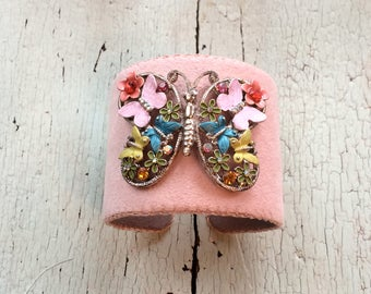 Floral Butterfly Adjustable Cuff
