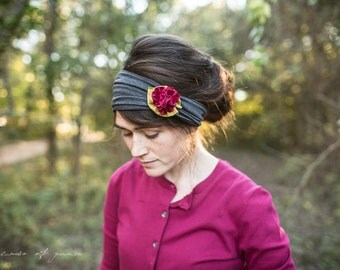 Holiday Holly Berry Rosette Headband in CHARCOAL- Garlands of Grace headband hair wrap headcovering  band Stretch