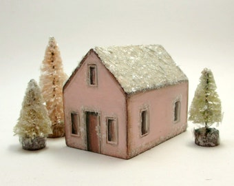 Handmade Wooden Pink House Set- Original Holiday Decor- Christmas Village- Three Trees- Natural Mica Snow