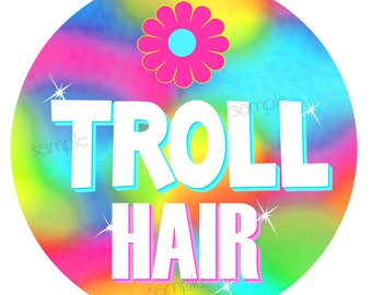 Troll Stickers,Troll Hair,Troll labels,Rainbow Troll,woodland troll,Gnome,fairytale,Favor labels,gift stickers,Troll favors,Cotton candy
