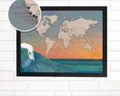 Customized Surfing Map, World Wall Map Art, Pushpin Travel Map