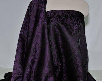 Satin Brocade fabric Purple black 1 yard , formal.. home decor..upholstery..bustiers..corsets..