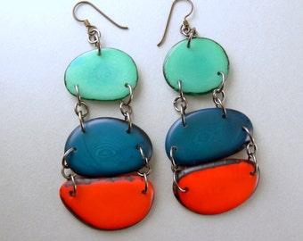 Teal, Royal Blue, Orange Shoulder Duster Trio of Tagua Nut Eco Earrings with Free USA Shipping #taguanut #ecofriendlyjewelry