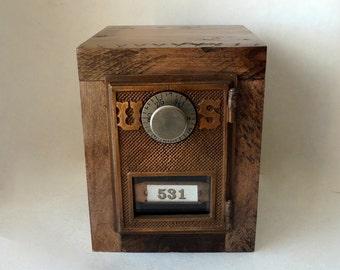 Weathered Hickory Safe Antique Bronze US Post Office Door 531 Rugged Bank Combination Lockbox Brass Groomsman 5th 8th Anniversary Retirement