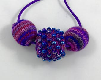 Kit - Knitted Chunky 3 Bead Necklace
