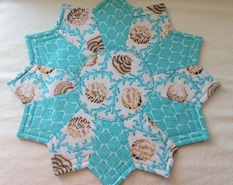 Ocean/Seaside (Shells) themed Reversible Candlemat; Miniature Quilt; Small Quilt;Table mat,