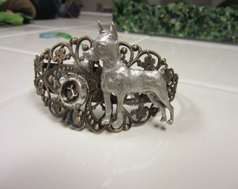 Lovely Antiqued Brass and Lead Free Miniature Pincher Dog Bracelet with Bowl